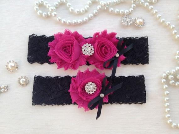 Wedding Garter Set Black Fuchsia Bridal Garter Set Black