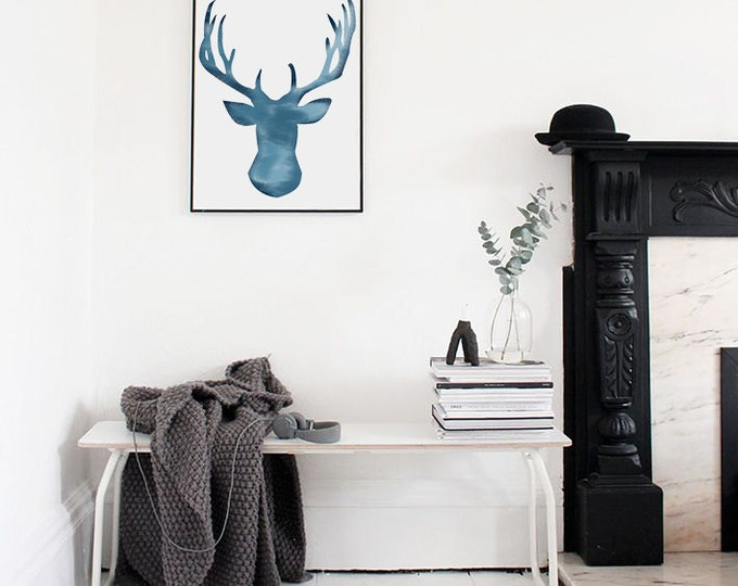 Reindeer Watercolour Illustration (Blue) - Printable Illustration / Blue Reindeer Poster / Reindeer Wall Art / Scandinavian Poster