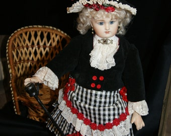 French Doll Antique Reproduction Hand Painted Full Costume Victorian
