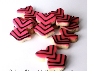 1 Dz. Customizable Chevron Mini Corset Cookies. Mini Chevron Cookies are perfect for an added touch to any ladies dessert table!