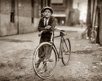 Lewis Hine Photo, Boy with a Bike and a Pipe