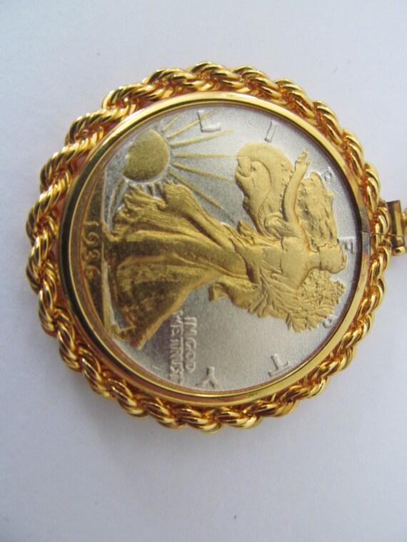 Vintage Cartwheel 24k Gold Plated Us Minted 1936 Half Dollar