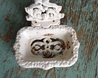 Shabby Chic-Chippy-Soap- Antique Cast Iron Soap Dish