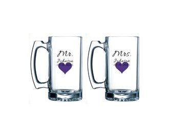 Mr and Mrs beer mugs with heart - personalized beer mug pair- bride and groom glasses - wedding toast - bridal shower gift ideas
