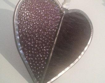 Purple Stained Glass Heart Suncatcher, Wedding Gift Heart