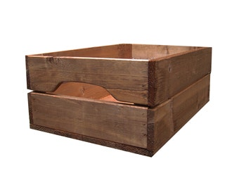 Shallow Rustic Farmhouse Wooden Apple Crate Storage Box