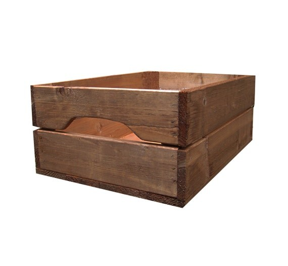 Shallow rustic farmhouse wooden apple crate storage box for Used apple crates