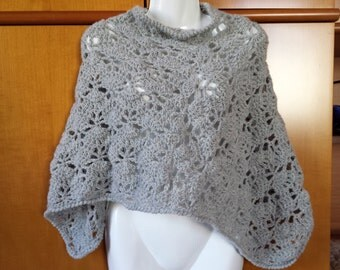 Wool Poncho pearl gray crochet