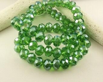 "8x6 Swarovski crystal, green AB Swarovski crystal beads, 8x6 Rondelles,8"" strand, 32 pcs, 6x8 AB crystal, (CC116) ships Usa"