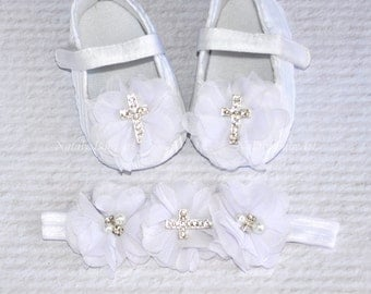 Baptism Girl shoes and Headband SET Christening baby girl crib shoes White girl shoe Crystal baby shoes Baptism baby girl shoes