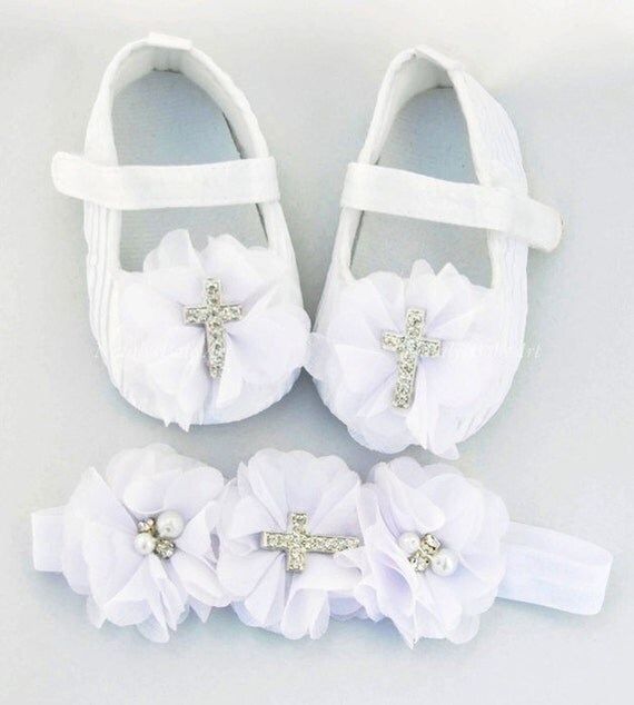 Baptism Girl shoes and Headband SET Christening by