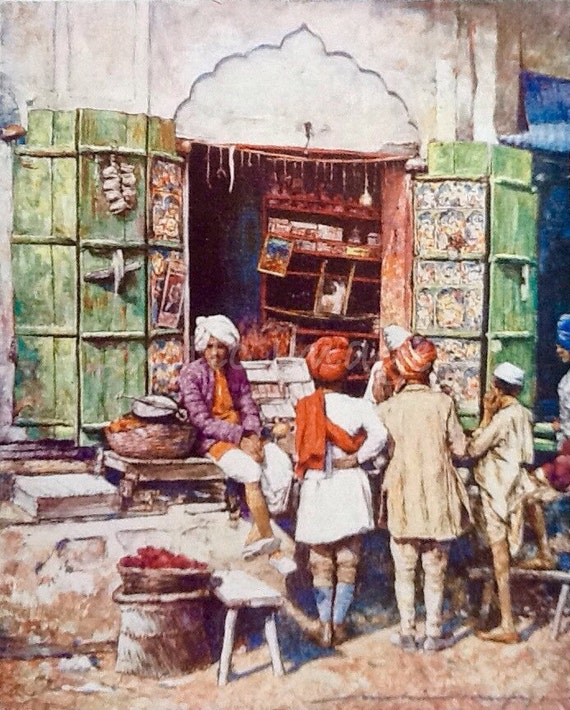 1905 India Market Stall Green Shutters Antique Book Plate Vintage    Indian Market Stall