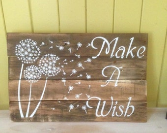 Rustic Timber Sign - Make a Wish