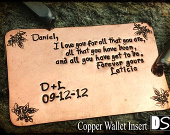 Copper Wallet Insert, hand stamped, beautifully decorated, Special 7th Anniversary Gift