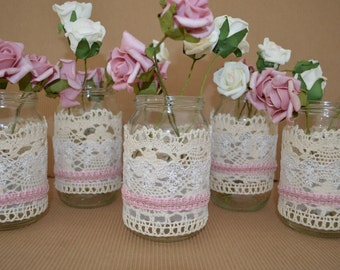 Mason jar wedding decorations - dusty rose, set of 5