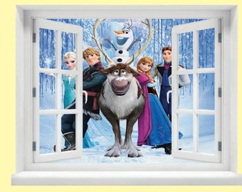Window with a View Frozen characters Wall Mural