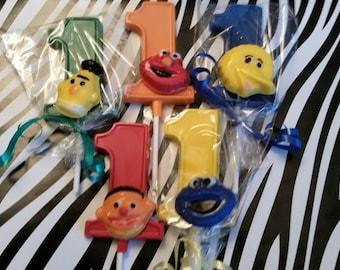 24 Sesame Street inspired first Birthday number 1 lollipops number 1 favors first birthday favors