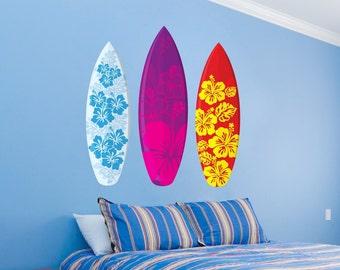 Surfboards Aloha Design Set of 3 Wall Decal