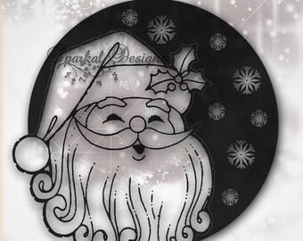 Christmas Santa SVG Cutting File Santa Glass Block SVG File, Silhouette Designer Cricut Design Space, Sure Cuts A Lot (Scal3) Vintage Santa1