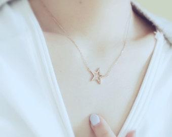 Star Charm Necklace Pentagon Necklace 18K Rose Gold Necklace Pendant Necklace Unique Necklace Simple Necklace