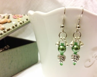 Green and Silver Leaf Drop Earrings
