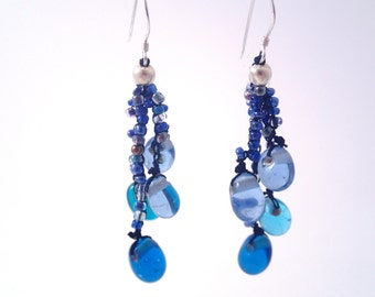 Cool Blue Glass Bead Cluster Earrings