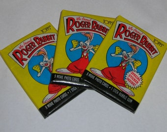 Vintage Who Framed Roger Rabbit Topps cards, 3 sealed packs