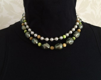 Retro Double Strand Bead Necklace