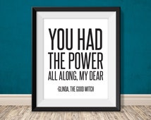 you had the power all along - glinda the good witch, wizard of oz quote // inspirational poster PDF // DIY sign art print (straight forward)