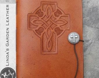 Handmade Leather Celtic Cross Journal or Sketchbook