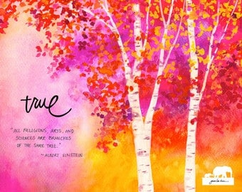 Print of a watercolor painting. Birch trees in beautiful, warm autumn colors. Inspirational quote by Einstein.