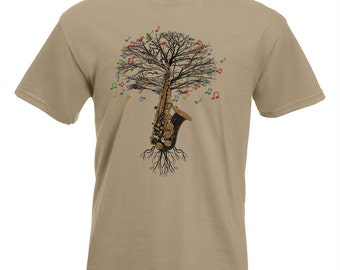 Saxophone T-shirt Musical Saxophonist Tree in all sizes