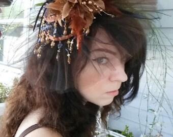 OOAK Brown Victorian Hat Headband