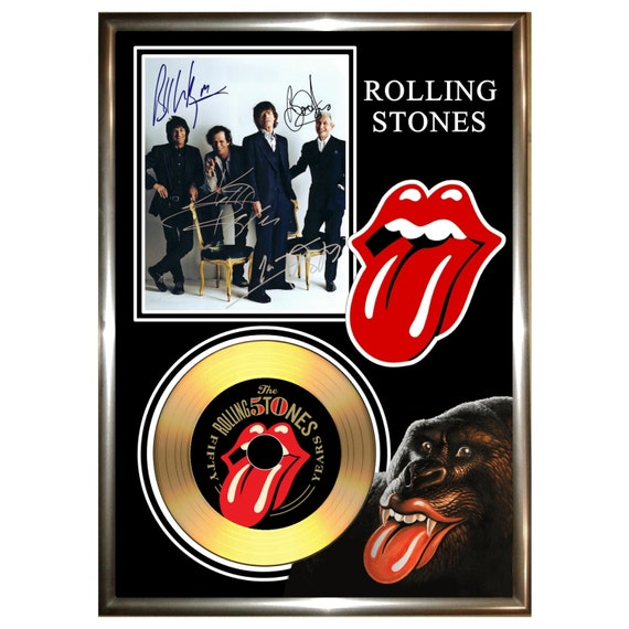 Rolling Stones Grrr Signed Framed Gold Vinyl By