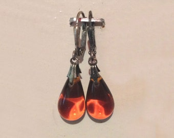 Glass Tear Drop Earrings - Warm Amber
