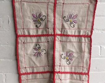 Vintage Bohemian Hand Embroidered Heavy Linen Floral Table Runner. Large Linen Runner.