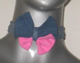 Double pink and indigo denim pretied adjustable bow tie