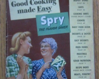 1942 Cooking With Spry Pure Vegetable Shortening Cookbook