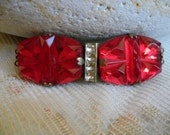 Antique Clasp Red Glass 1920s Czech Assemblage Necklace Art Deco Vintage Foil Back Finding Fixing Trim Jewelry Supply