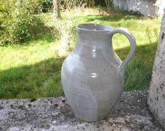 HUGE French Pitcher Jug Grey Creamy Gray Pottery Studio Ceramic Signed Atelier Ceramique Artisan Potter
