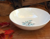 Aqua Black Flower Salad or Vegetable Serving Bowl Mid Century China Vintage Floral Kitchen 1950s USA