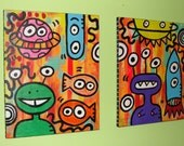 Alien Poptoon and the Monsters Double 16x20 Original Painting