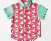 Little Boy Shirt - Arthur Collared Button Shirt (Peach Turquoise Lions)