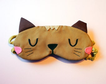 Kitty Cat Eyemask, Stray Cat Sleep Mask, Brown Cat Sleeping Mask, Cat Sleep Eye Mask, Cat Nap Mask, The Stray Kitty Cat - CAMEL color