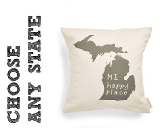 State of Mind Pillow Cover - All 50 states available - 16x16