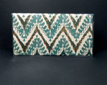 Checkbook Cover - exotic ikat chevron - teal and cream