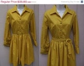 Vintage 50s Harvest Gold Day Dress / Rockabilly Swing frock // Sz Sml - 27 waist/