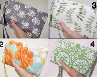 Wedding Clutch 2 pockets,medium,green,grey,flowers,,discount plan set, wristlet, cotton, zipper