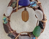 Sea Glass Wind Chime Wreath Suncatcher Mobile