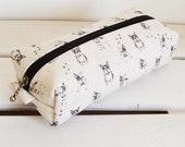 Long box pouch - French bulldog (natural)